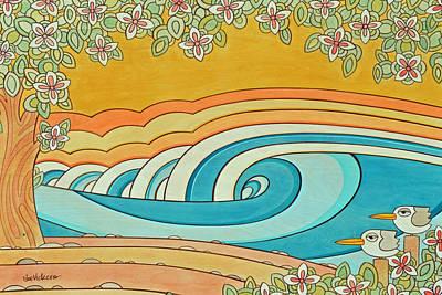 Sunset On Birdy Beach Print by Joe Vickers