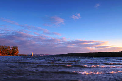 Sunset On Cayuga Lake Ithaca Print by Paul Ge