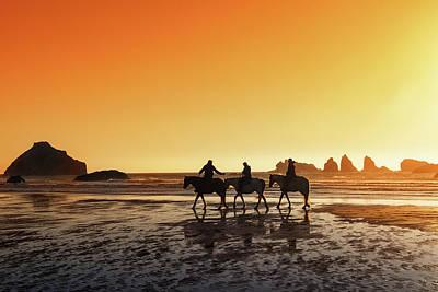 Oregon Photograph - Sunset On Horseback by Mark Kiver