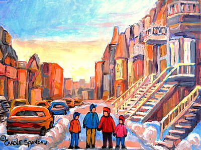 Montreal Buildings Painting - Sunset On Hotel De Ville Street Montreal by Carole Spandau
