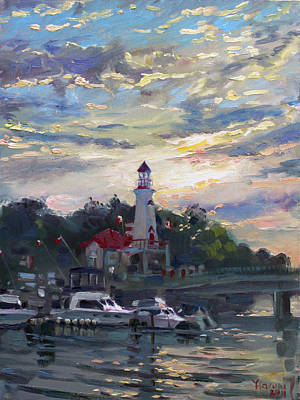 Light House Painting - Sunset On Lake Shore Mississauga by Ylli Haruni