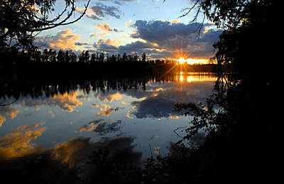 Canoe Photograph - Sunset On Polly Lake by Larry Ricker