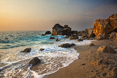 Water Photograph - Sunset On Rocky Beach And Waves Greece by Sandra Rugina