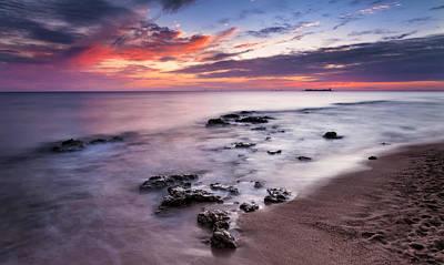 Sunset On The Coast Of Chiclana Print by Hernan Bua