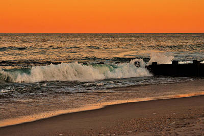 Sunset On The Jetty - Jersey Shore Print by Angie Tirado