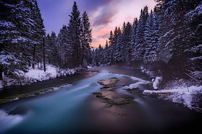 Winter Sunset Photograph - Sunset On The Metolius by Cat Connor