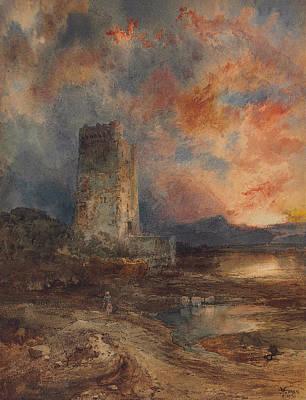 Sunset On The Moor Print by Thomas Moran