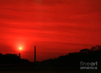 Sunset On The National Mall Washington Dc Print by Thomas Marchessault