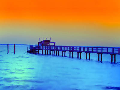 Sunset On The Pier Print by Bill Cannon