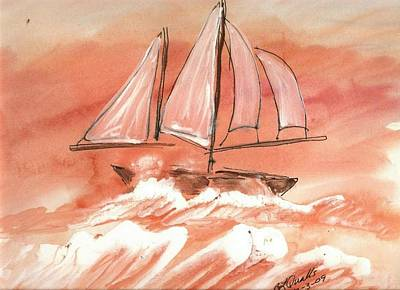Painting - Sunset On The Sea And Sail by B L Qualls