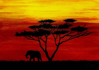 Sunset On The Serengeti Print by Michael Vigliotti