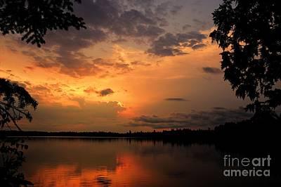 Sunset On Thomas Lake Print by Larry Ricker