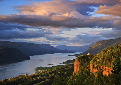 Columbia River Photograph - Sunset Over Crown Point by Jon Ares