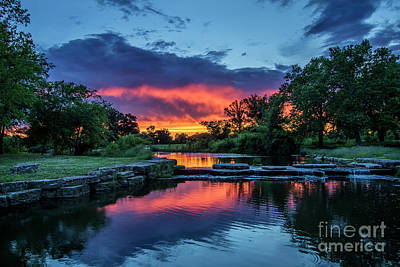 Sunset Over Deer Lake In Forest Park, St Louis, Missouri Print by Garry McMichael