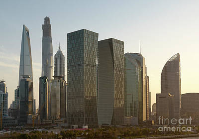 Background Photograph - Sunset Over Downtown Shanghai Skyline. View On The Huangpu River Waterfront And City Skyscrapers. by Dani Prints and Images