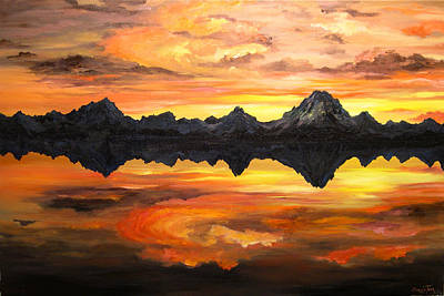 Sunset Over Jackson Lake And The Grand Tetons Print by Connie Tom