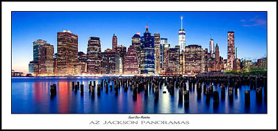New York Skyline Photograph - Sunset Over Manhattan Poster Print by Az Jackson
