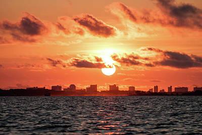 Sunset Over Panama City Beach Print by Debra Forand