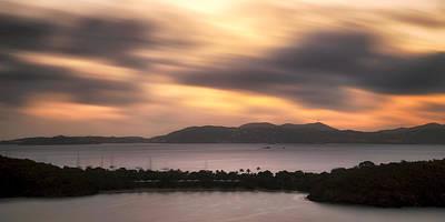 Sunset Over St. John And St. Thomas Panoramic Print by Adam Romanowicz