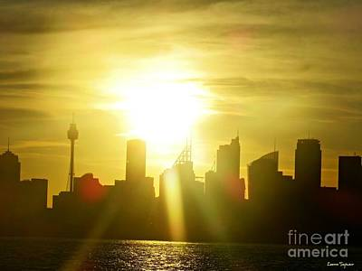 Sydney Skyline Mixed Media - Sunset Over Sydney by Leanne Seymour