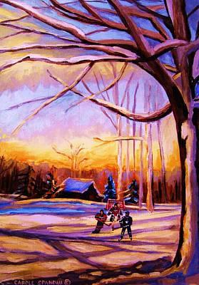 Sunset Over The Hockey Game Original by Carole Spandau