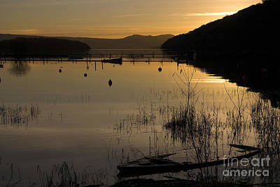 Sunset Over The Lake Print by Carole Lloyd
