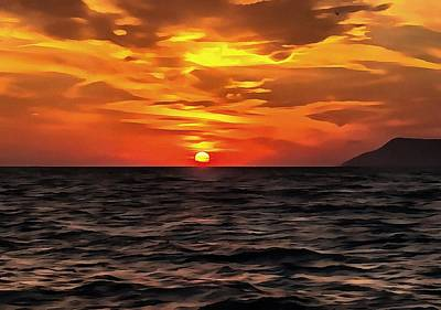 Sunset Over The Mediterranean Sea Print by Tracey Harrington-Simpson