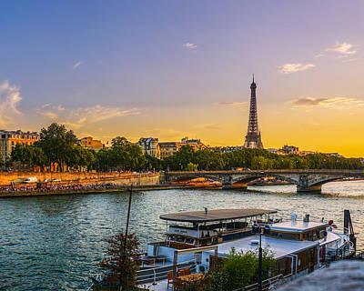 Sunset Over The Seine In Paris Print by James Udall