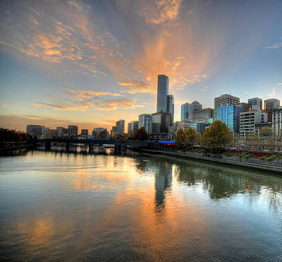 Sunset Over The Yarra River, Melbourne Print by Sergio Amiti