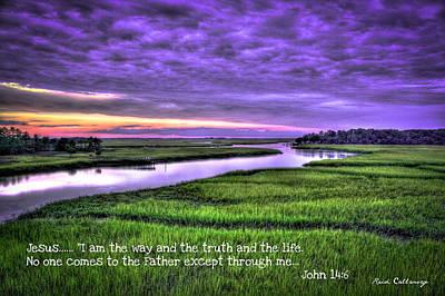 Sunset Over Turners Creek John 14 6 Too Print by Reid Callaway