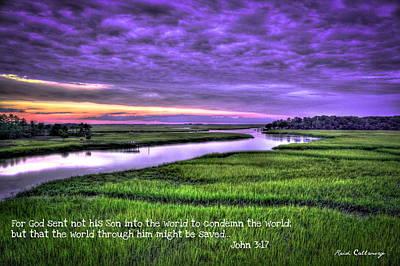 Sunset Over Turners Creek John 3 17 Print by Reid Callaway