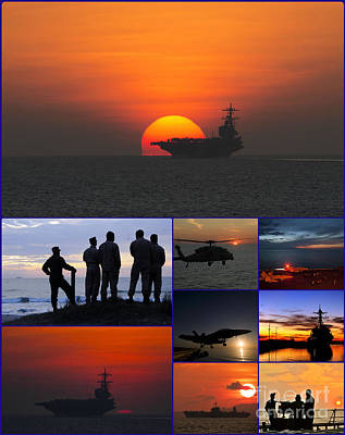 U.s. Navy Painting - Sunset Over Us Navy Collage by Celestial Images