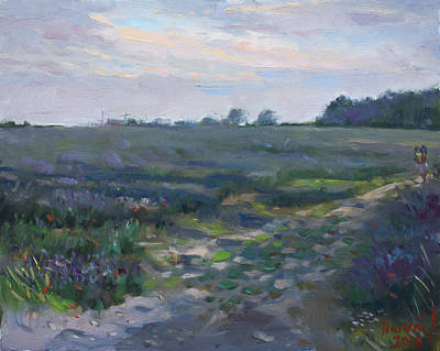 Terra Painting - Sunset Over The Field by Ylli Haruni