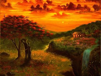 Flamboyan Tree Painting - Sunset Paradise by Alfredo Vega