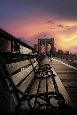 Brooklyn Bridge Digital Art - Sunset Promenade by Jessica Jenney