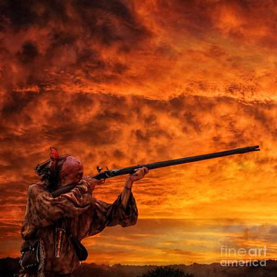 Huron Indian Digital Art - Sunset Raid by Randy Steele