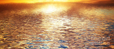 Pattern Photograph - Sunset Reflection In Calm Ocean Waves by Michal Bednarek