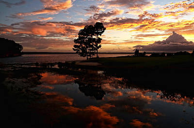 Sunset Reflection Print by Judy Vincent