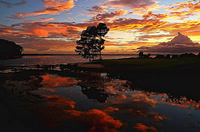 Sunset Reflection Painted Print by Judy Vincent