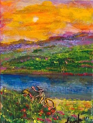Moonlit Night Mixed Media - Sunset River1 by Nirmala Jetty