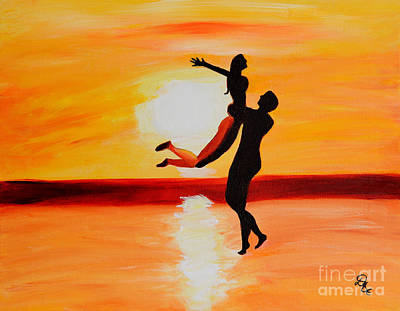Lovebird Painting - Sunset Romance by Art by Danielle