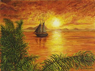 Summer Fun Painting - Sunset Sail by Christine Brunette