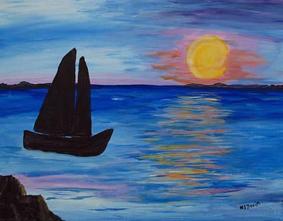 Painting - Sunset Sail Dark by Barbara McDevitt