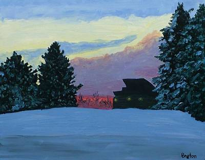 Maine Winter Painting - Sunset Serenade by Laurie Breton