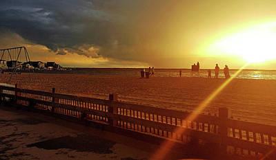 Sunset Silhouette Barnegate Bay Ocean County Nj  Print by Maggie Vlazny