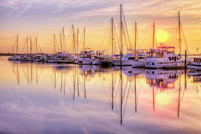 Sunset Skies At The Harbor Print by Debra and Dave Vanderlaan
