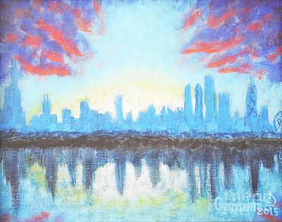 Hancock Building Painting - Sunset Skyline - Chicago, Il. by Gene Huebner