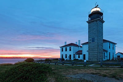 Sunset View Of The Beavertail Lighthouse Print by George Oze