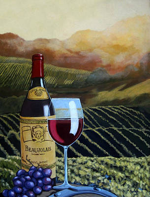 Beaujolais Painting - Sunset W/beaujolais by Linda Apple