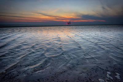 Sunset Walk On West Meadow Beach Print by Rick Berk